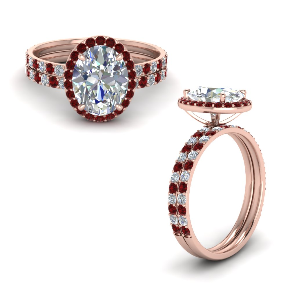 Ruby Halo Bridal Ring Set