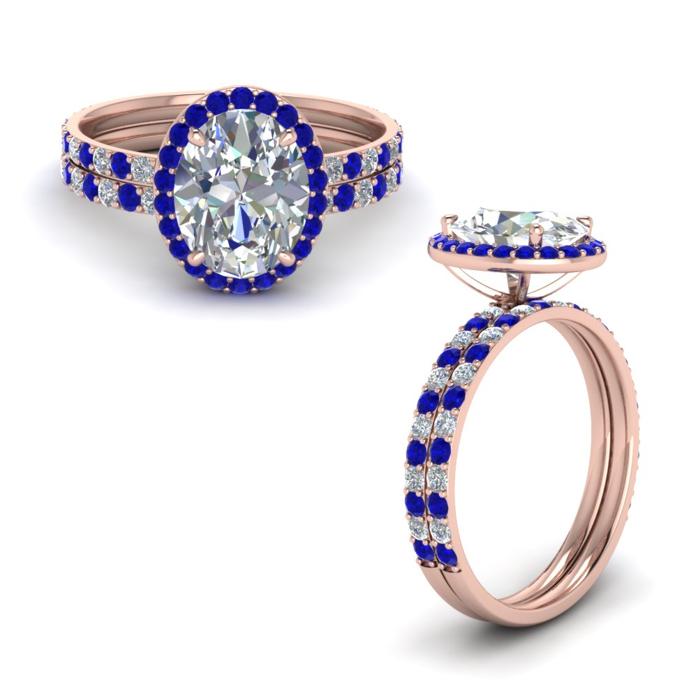 oval shaped halo diamond wedding set with sapphire in 14K rose gold FD8490OVGSABLANGLE1 NL RG