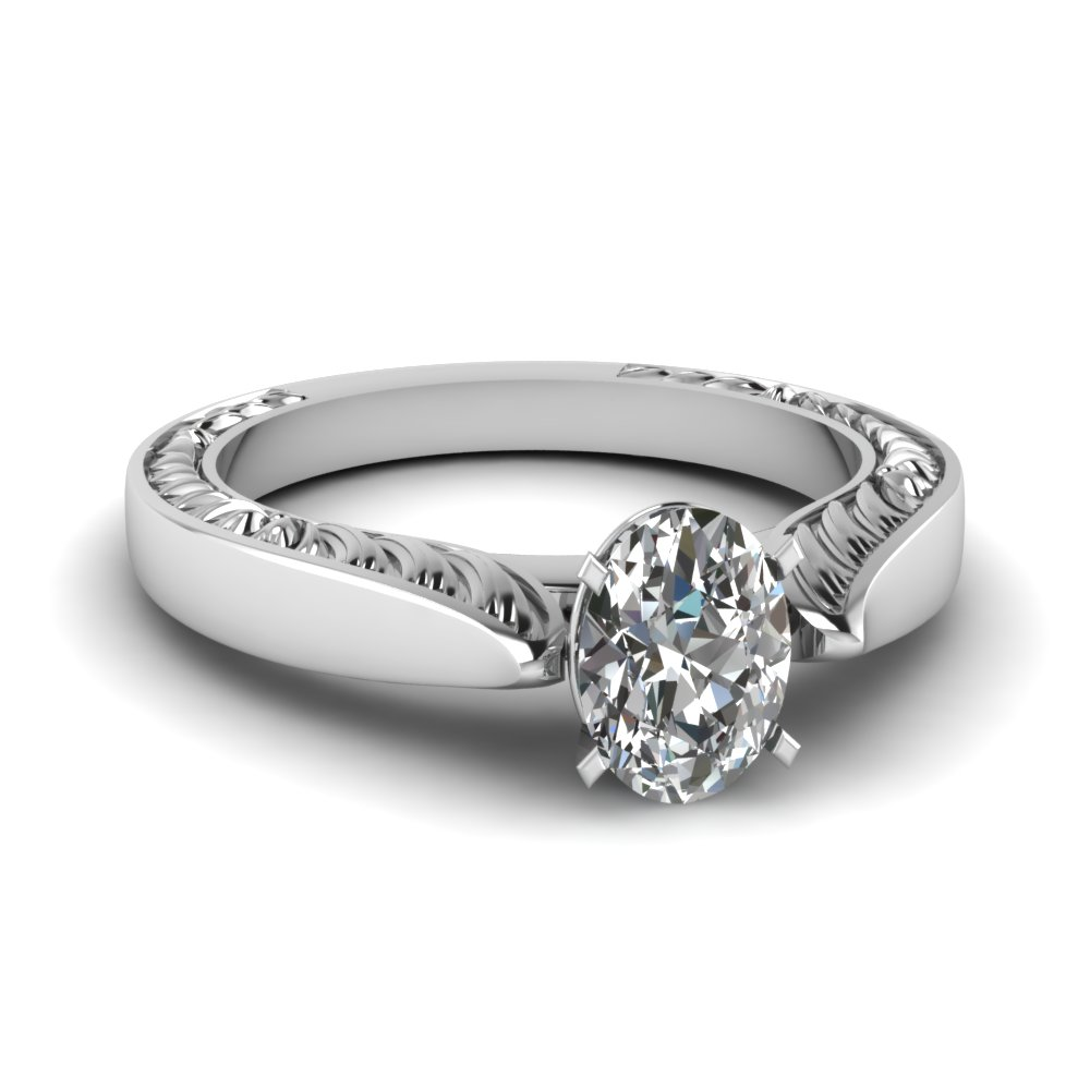 Hand Engraved Profile Solitaire Engagement Ring Engraved Rings With White  Diamond In 14k White Gold