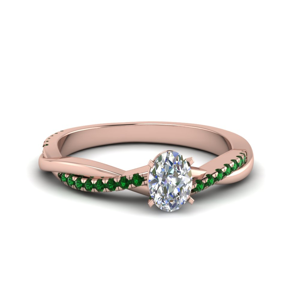 oval shaped infinity twist diamond engagement ring with emerald in FD8253OVRGEMGR NL RG