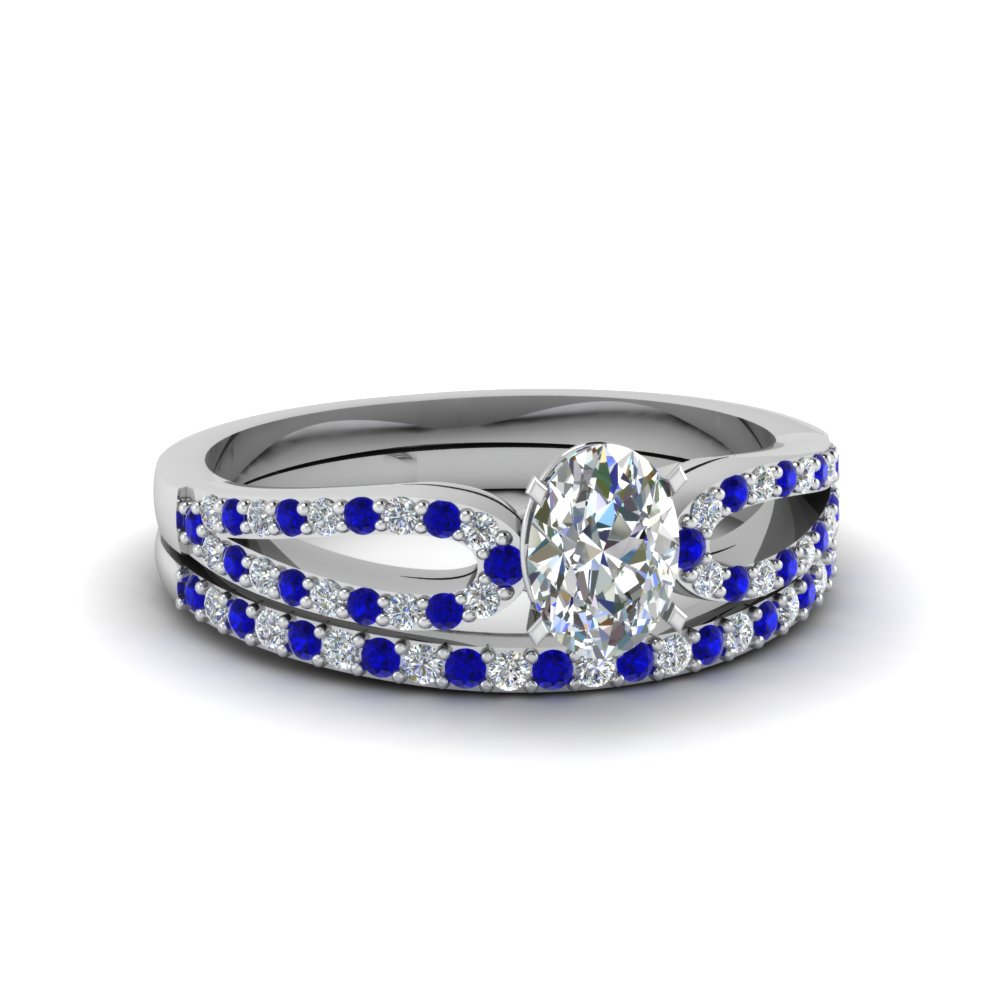 oval shaped diamond wedding ring sets with blue sapphire in 14k white gold - Oval Wedding Ring