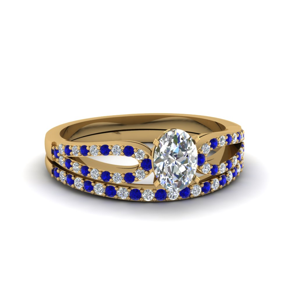 oval shaped loop diamond ring with sapphire matching band in 18K yellow gold FDENS3323OVGSABL NL YG