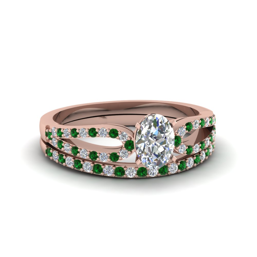oval shaped loop diamond ring with emerald matching band in 18K rose gold FDENS3323OVGEMGR NL RG