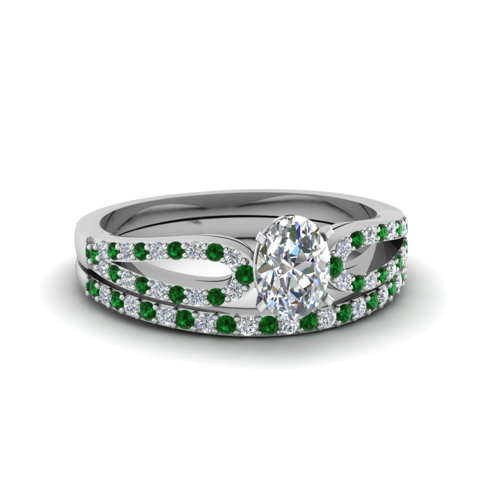 oval shaped loop diamond ring with emerald matching band in 18K white gold FDENS3323OVGEMGR NL WG