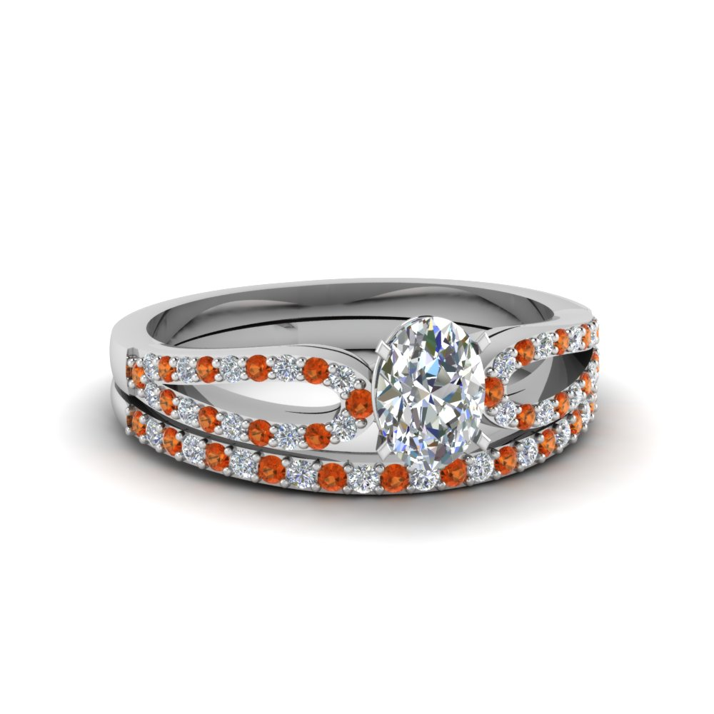 Oval Diamond & Orange Sapphire Wedding Ring Sets