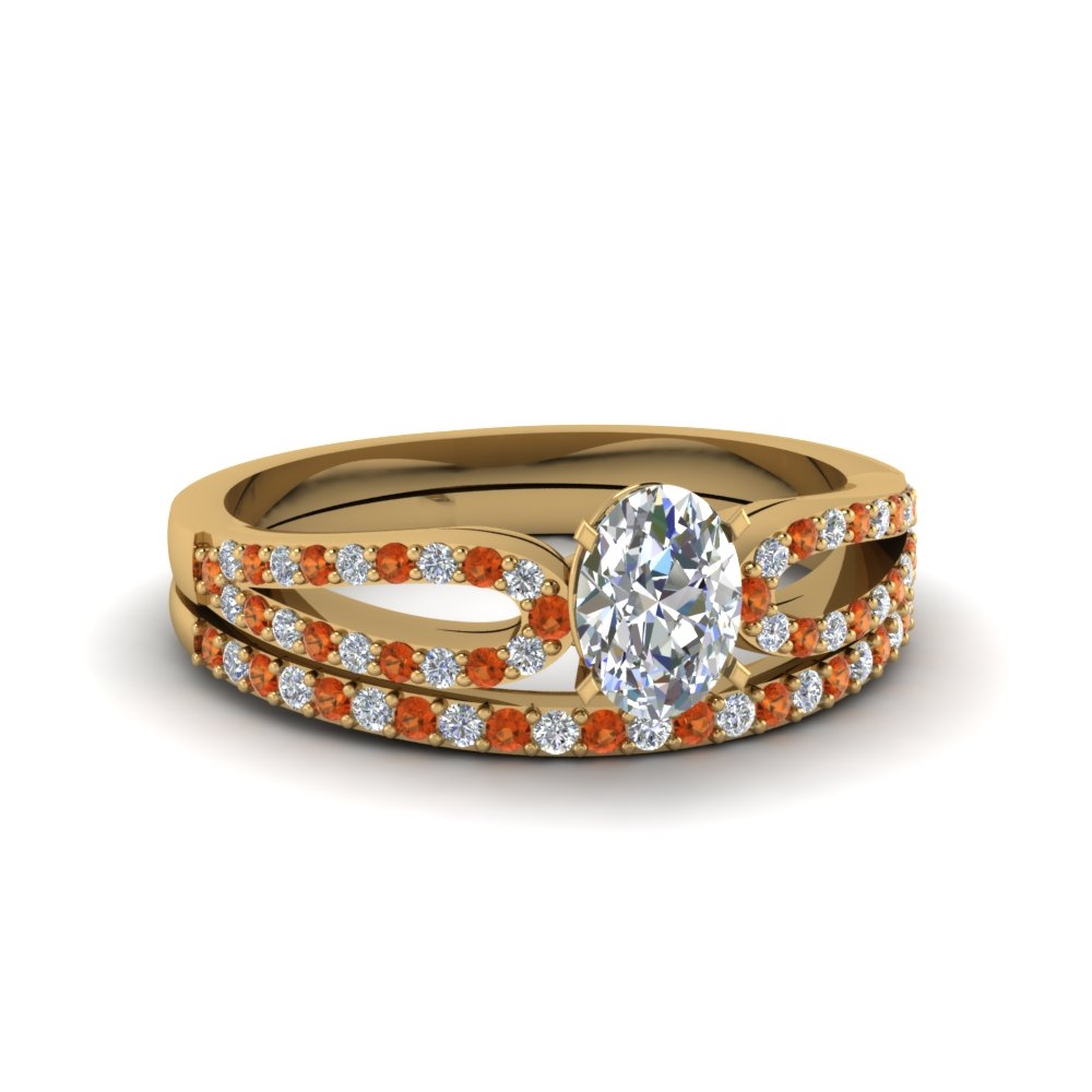oval shaped loop diamond ring with orange sapphire matching band in 18K yellow gold FDENS3323OVGSAOR NL YG
