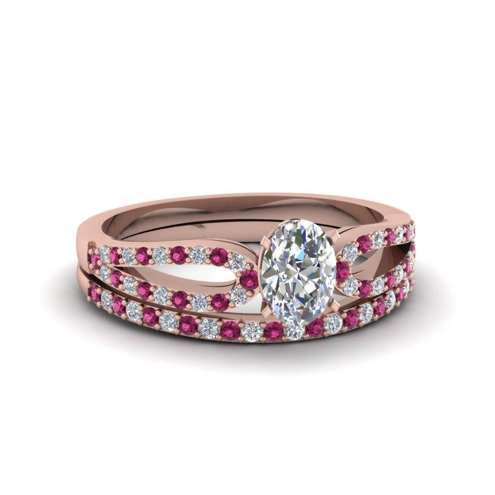 oval shaped loop diamond ring with pink sapphire matching band in 14K rose gold FDENS3323OVGSADRPI NL RG