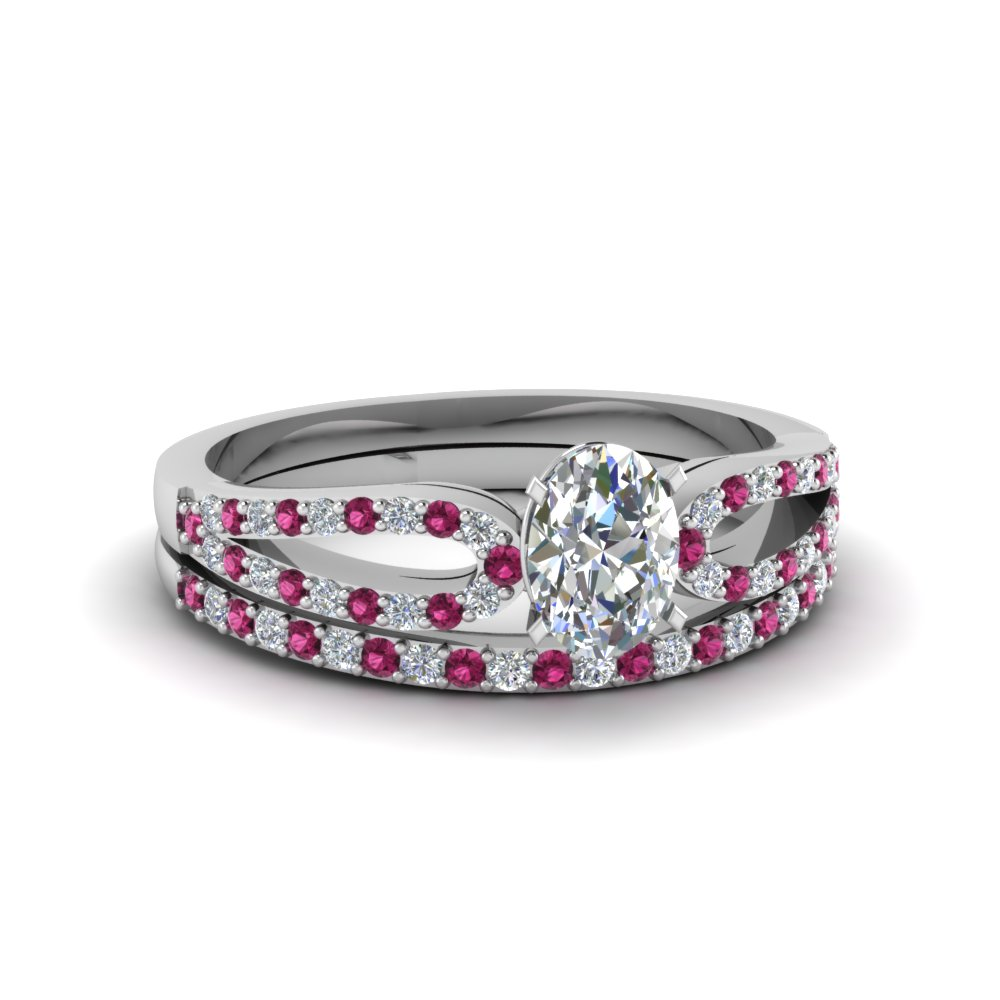 oval shaped loop diamond ring with pink sapphire matching band in 18K white gold FDENS3323OVGSADRPI NL WG