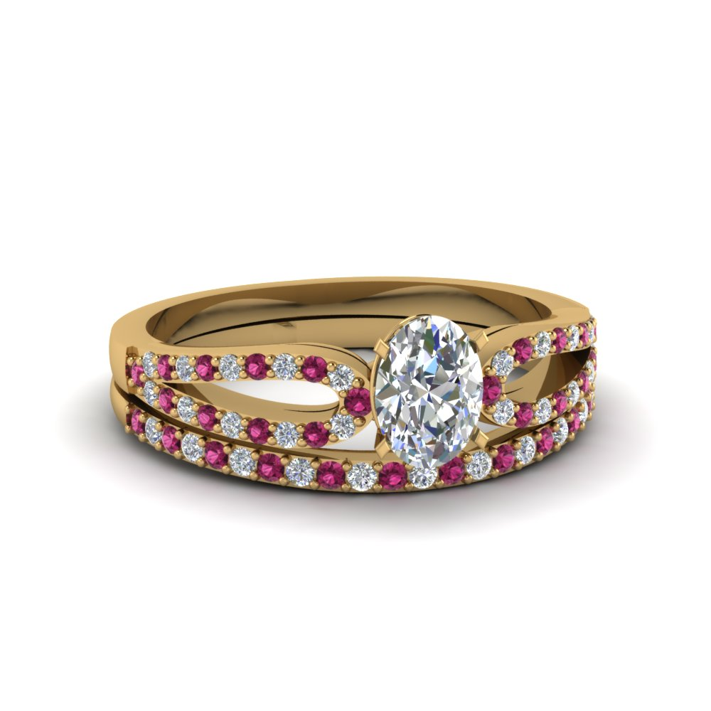 oval shaped loop diamond ring with pink sapphire matching band in 18K yellow gold FDENS3323OVGSADRPI NL YG