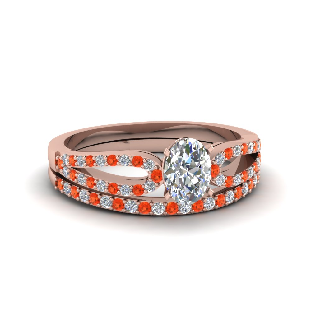 oval shaped loop diamond ring with orange topaz matching band in 14K rose gold FDENS3323OVGPOTO NL RG