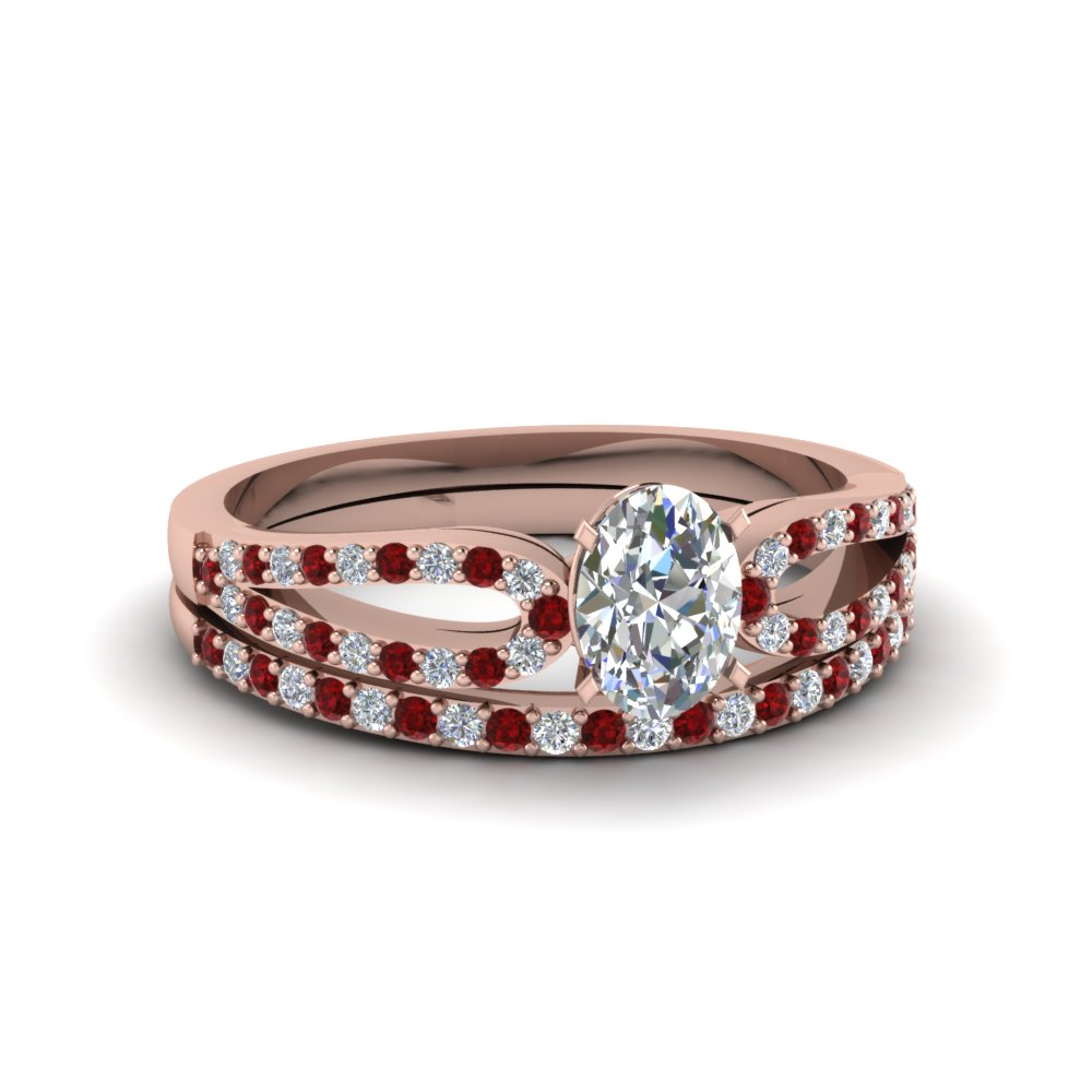 oval shaped loop diamond ring with ruby matching band in 14K rose gold FDENS3323OVGRUDR NL RG