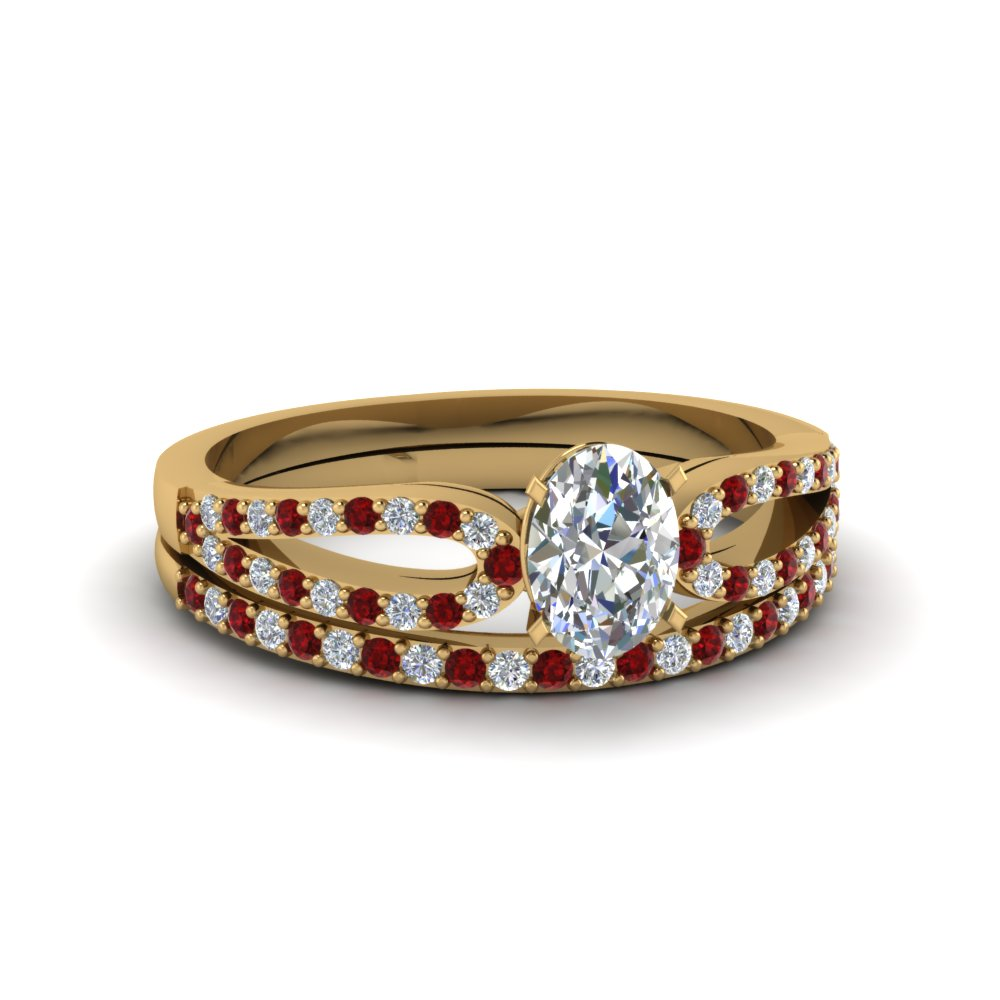 oval shaped loop diamond ring with ruby matching band in 14K yellow gold FDENS3323OVGRUDR NL YG
