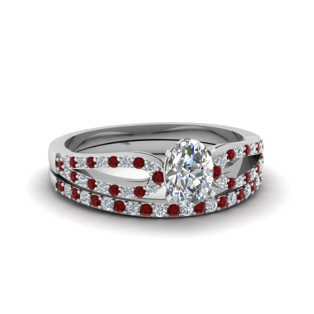 oval shaped loop diamond ring with ruby matching band in 950 platinum FDENS3323OVGRUDR NL WG