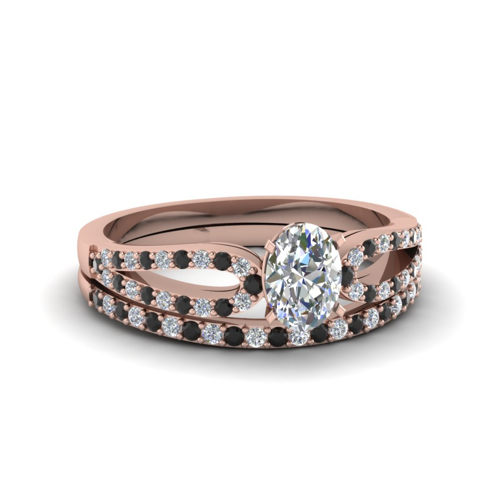 oval shaped loop ring with black diamond matching band in 14K rose gold FDENS3323OVGBLACK NL RG