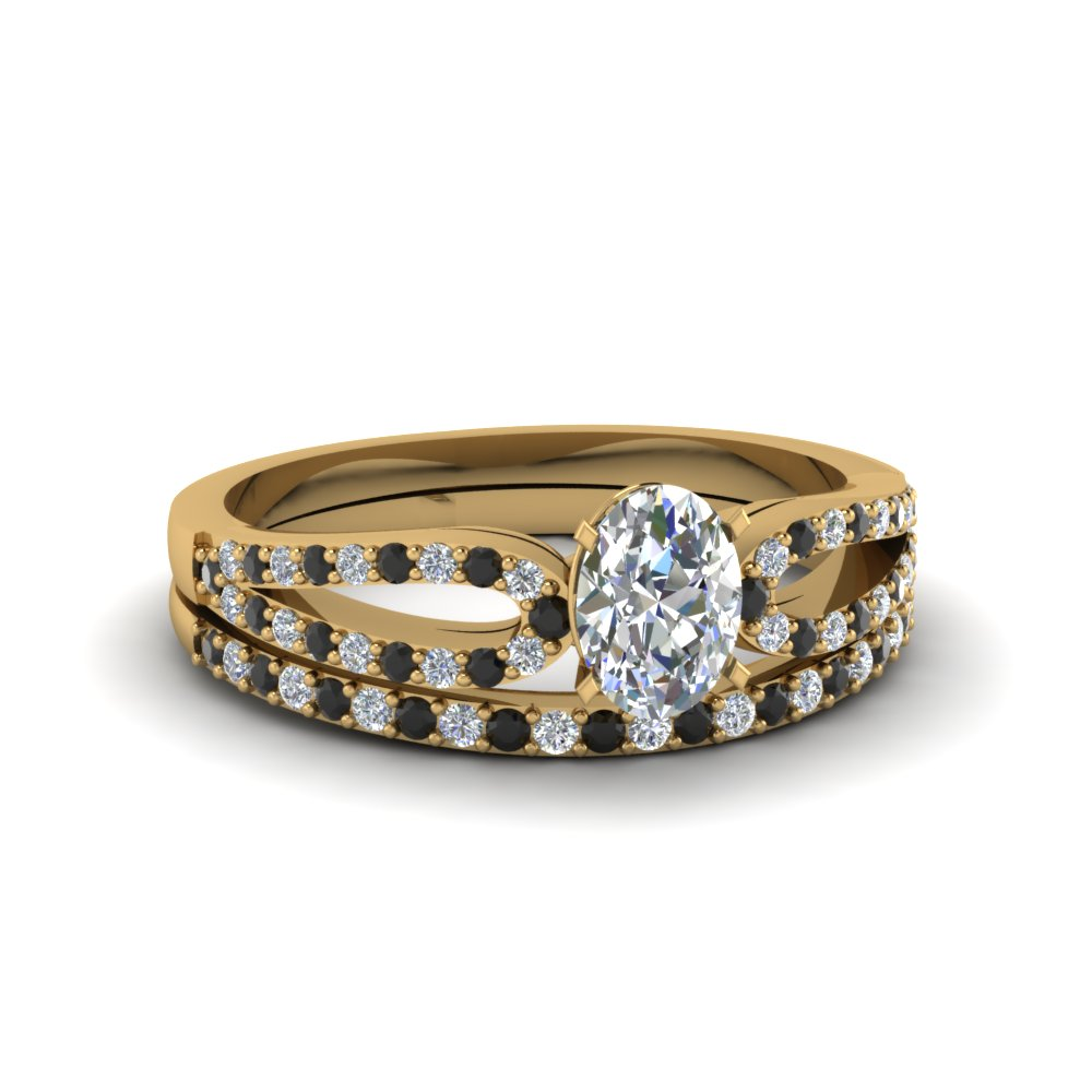 oval shaped loop ring with black diamond matching band in 14K yellow gold FDENS3323OVGBLACK NL YG