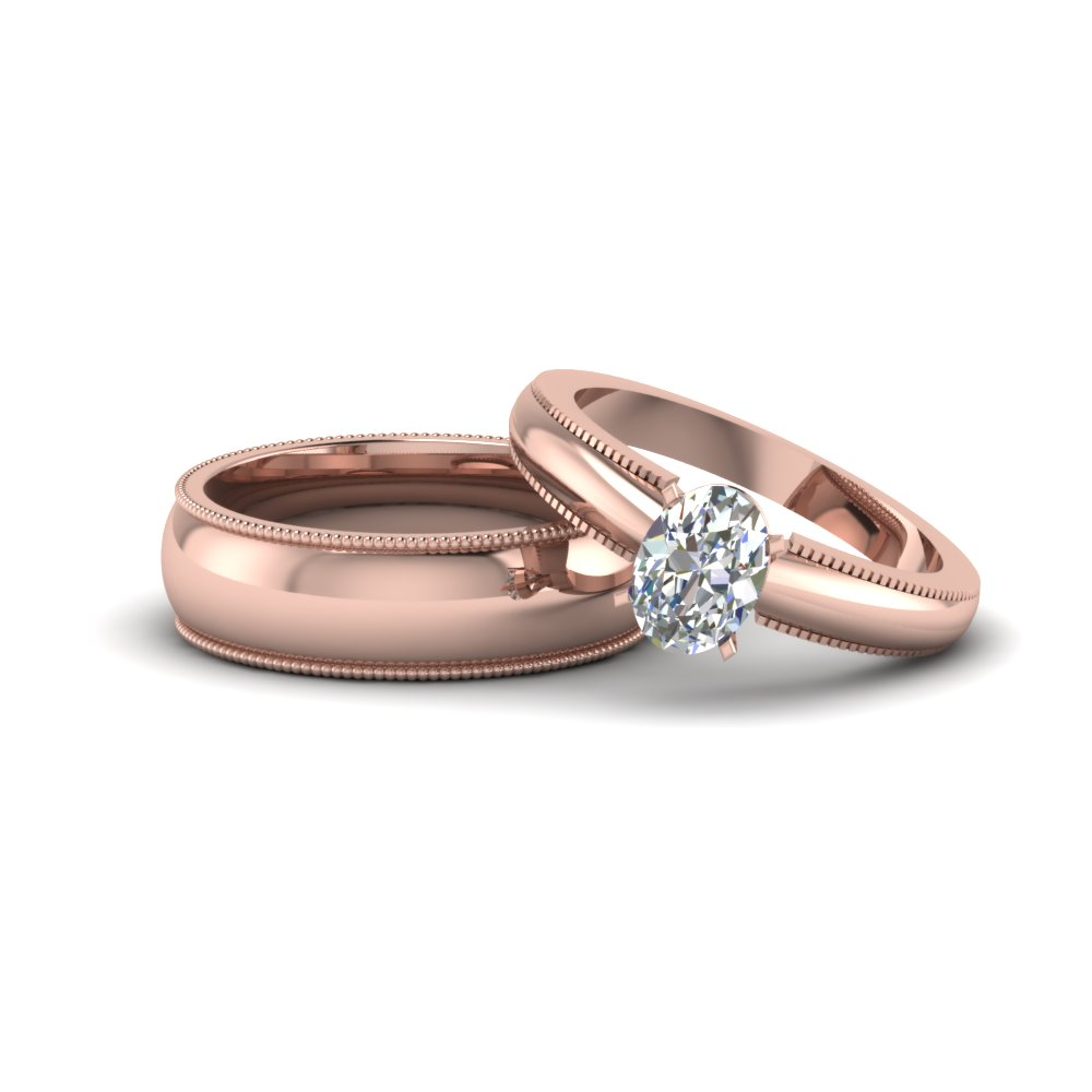 oval shaped matching wedding anniversary ring with band for him and her in 14K rose gold FD8145B NL RG