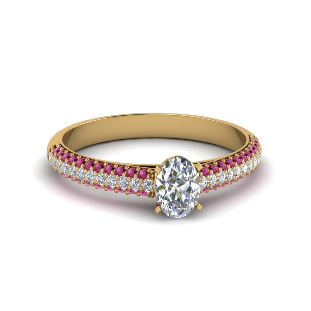 Oval Shaped Pink Sapphire Side Stone Engagement Rings