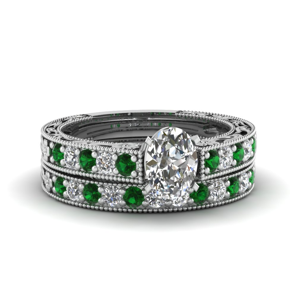 oval shaped milgrain pave diamond wedding ring sets with emerald in FDENS3506OVGEMGR NL WG