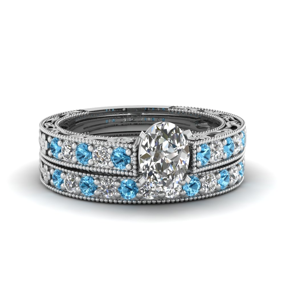oval shaped milgrain pave lab diamond wedding ring sets with blue topaz in FDENS3506OVGICBLTO NL WG