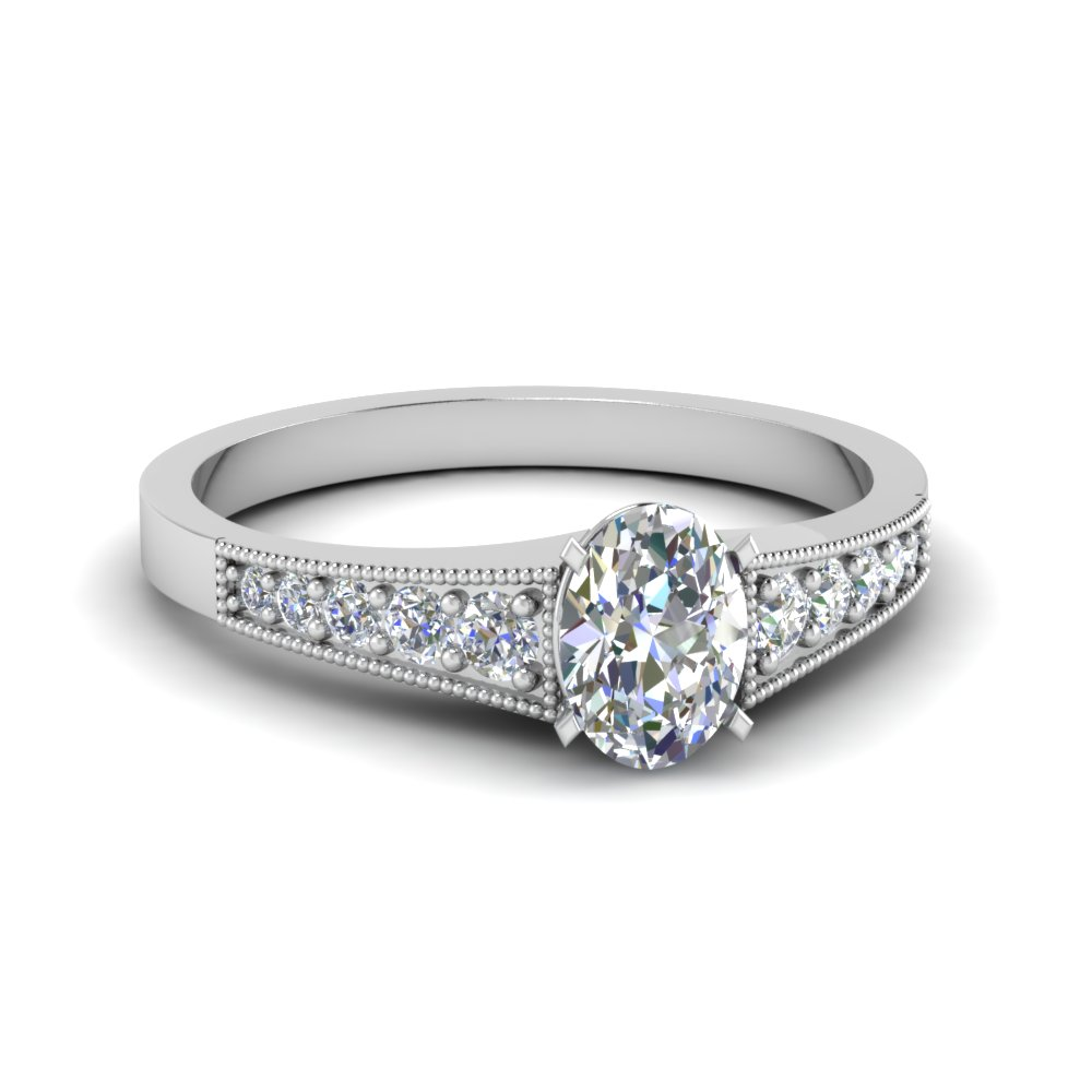 Pave Set Oval Shaped Diamond Ring