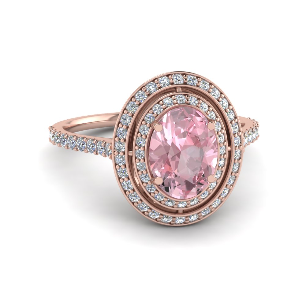Pave Oval Morganite Double Halo Ring