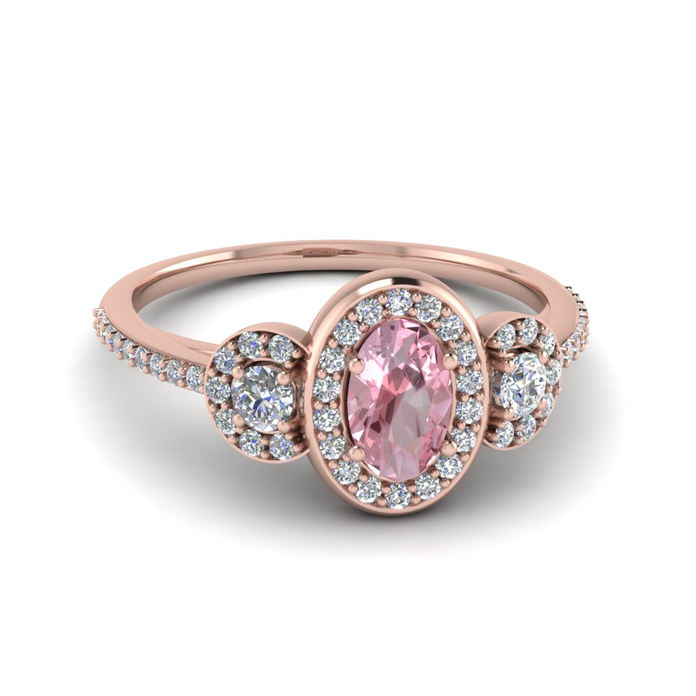 Pave Halo Morganite 3 Stone Ring