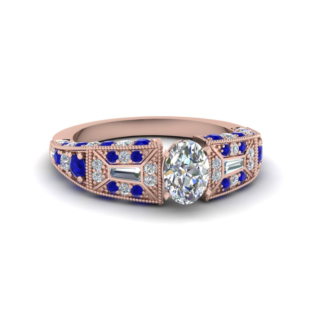 oval shaped victorian vintage style diamond engagement ring with sapphire in FDENR8601OVRGSABL NL RG