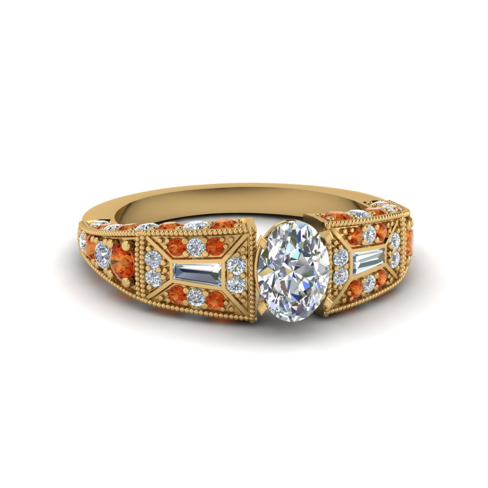 oval shaped victorian vintage style diamond engagement ring with orange sapphire in FDENR8601OVRGSAOR NL YG