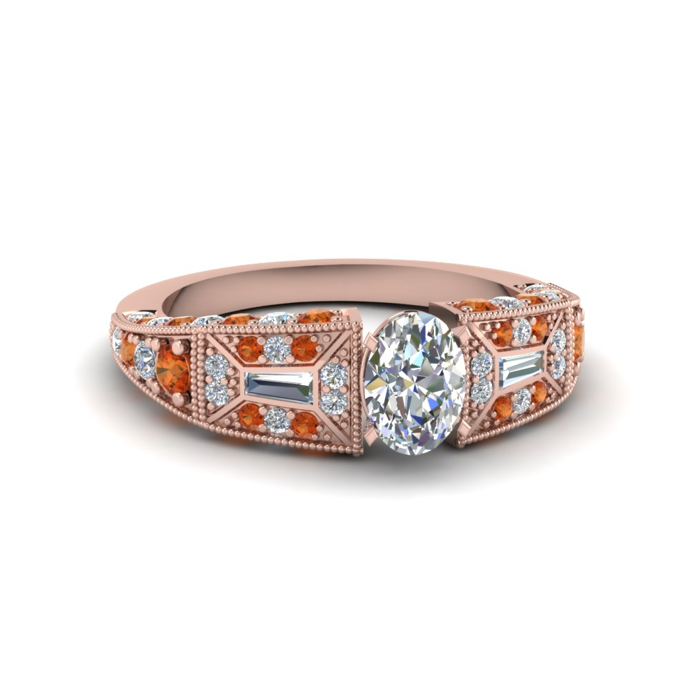oval shaped victorian vintage style diamond engagement ring with orange sapphire in FDENR8601OVRGSAOR NL RG