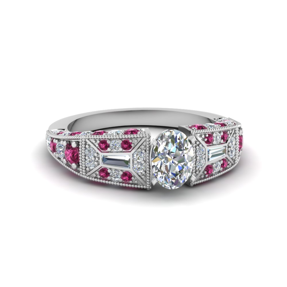 oval shaped victorian vintage style diamond engagement ring with pink sapphire in FDENR8601OVRGSADRPI NL WG