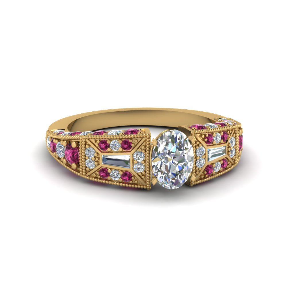 oval shaped victorian vintage style diamond engagement ring with pink sapphire in FDENR8601OVRGSADRPI NL YG