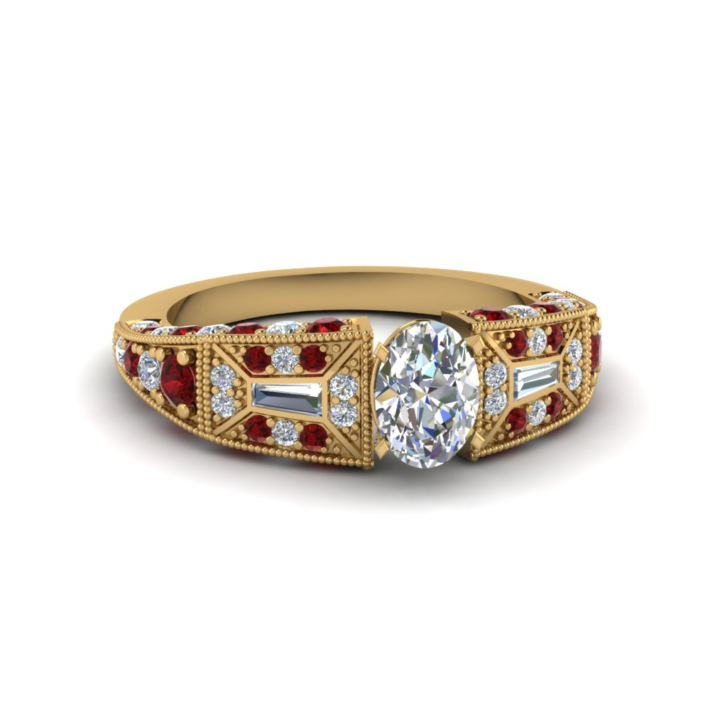 oval shaped victorian vintage style diamond engagement ring with ruby in FDENR8601OVRGRUDR NL YG
