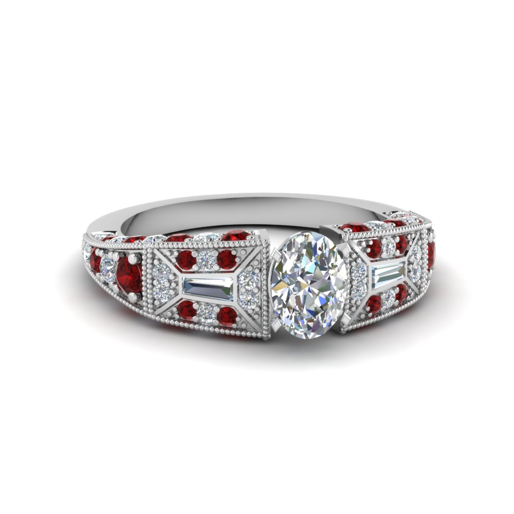 oval shaped victorian vintage style diamond engagement ring with ruby in FDENR8601OVRGRUDR NL WG