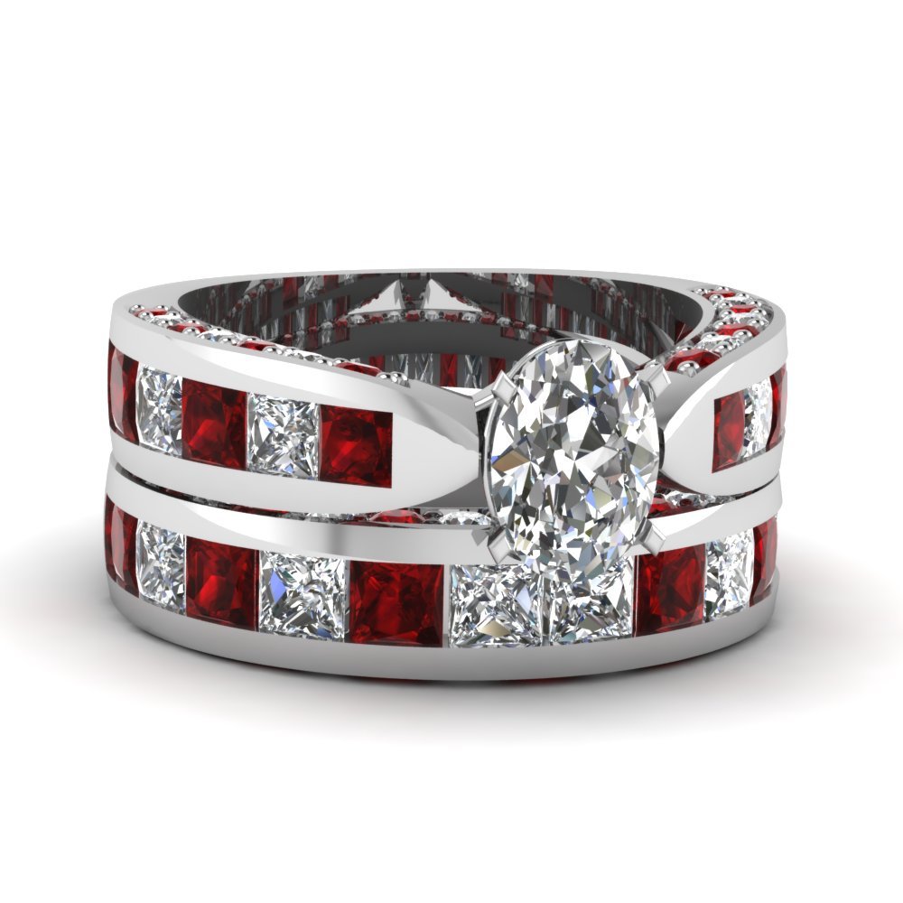 oval shaped pave channel accent diamond bridal set with ruby in 950 Platinum FDENS304OVGRUDR NL WG