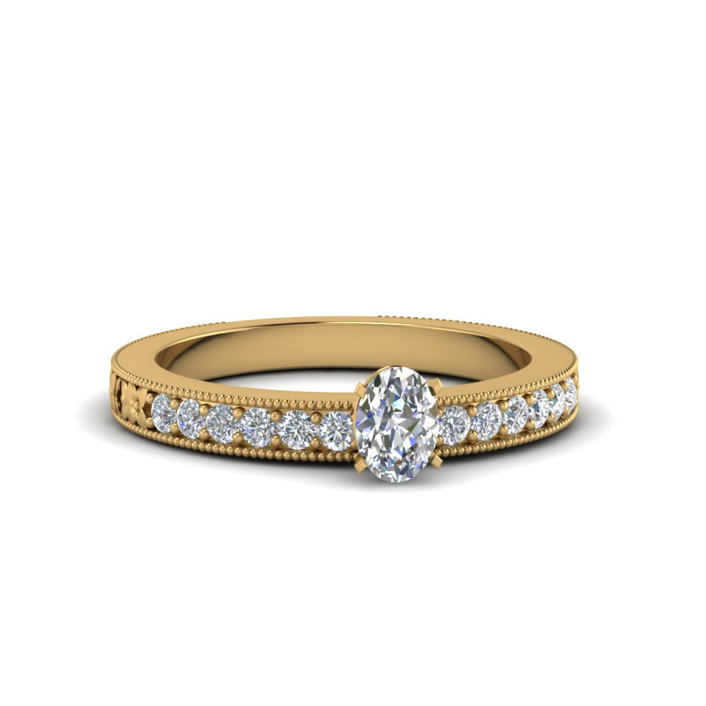 oval shaped pave diamond milgrain engagement ring in FDENS3516OVR NL YG