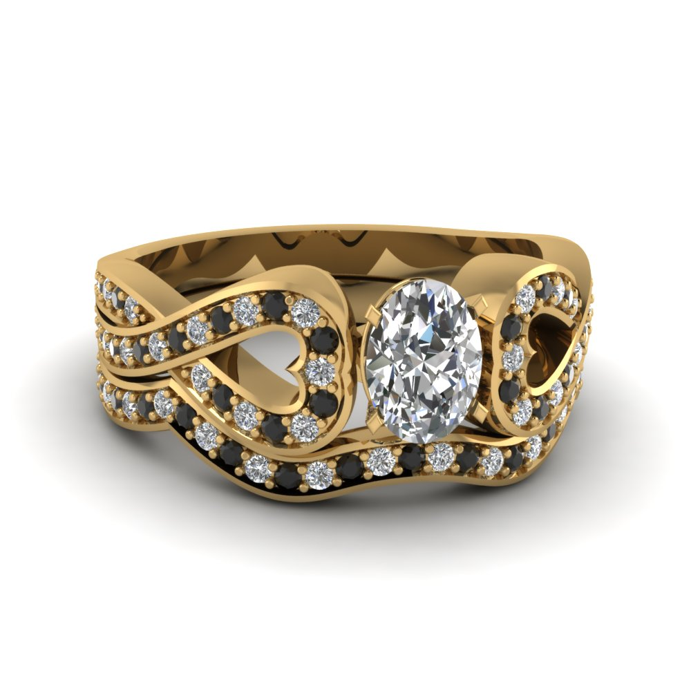 Entwined Oval Wedding Ring Set With Black Diamond In 18K Yellow Gold ...