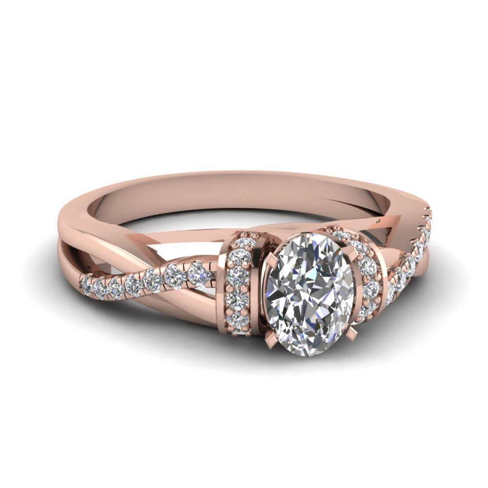 pave twisted oval shaped diamond engagement ring in 14K rose gold FD650953OVR NL RG