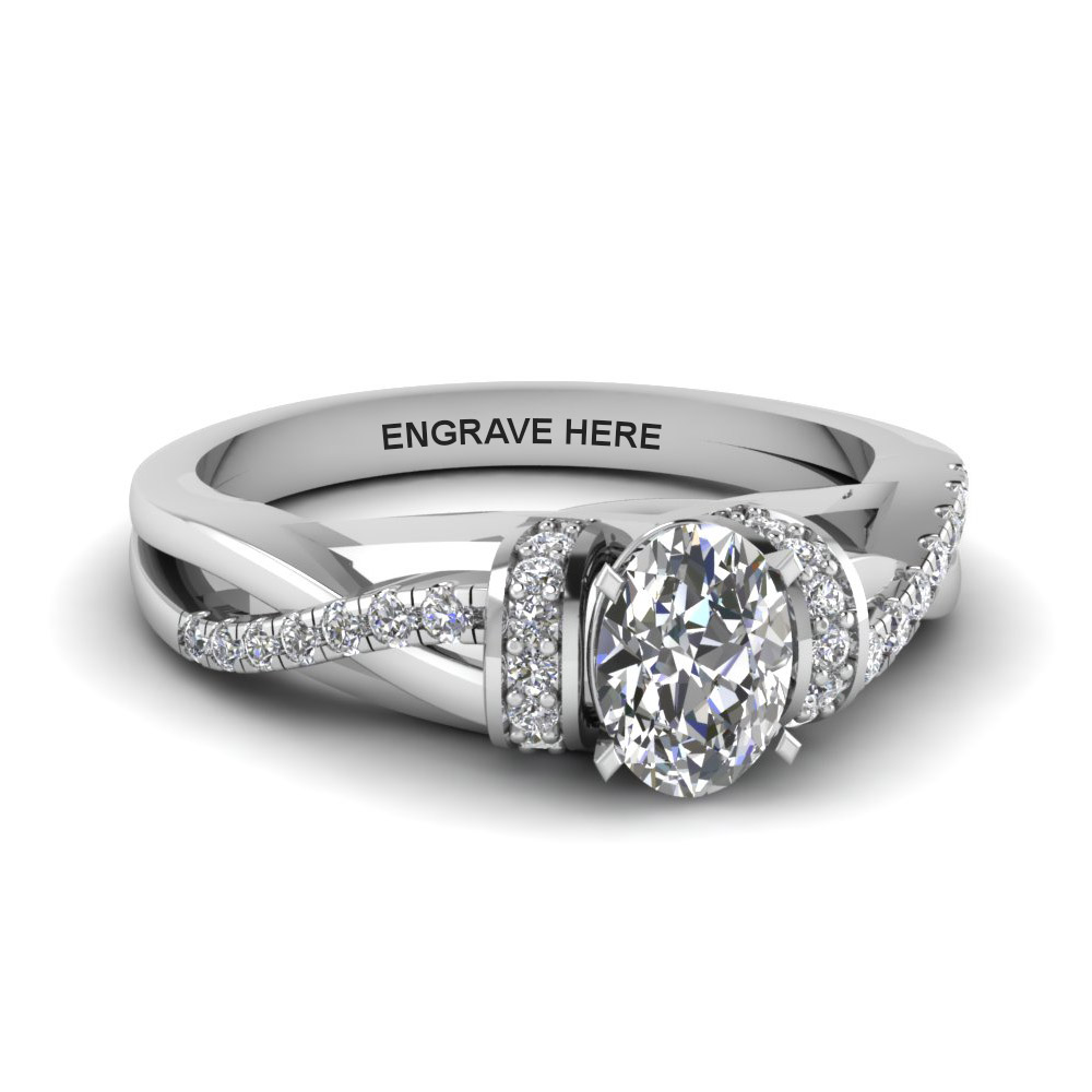 oval shaped personalized pave split diamond engagement ring in FD8659OVR NL WG EG