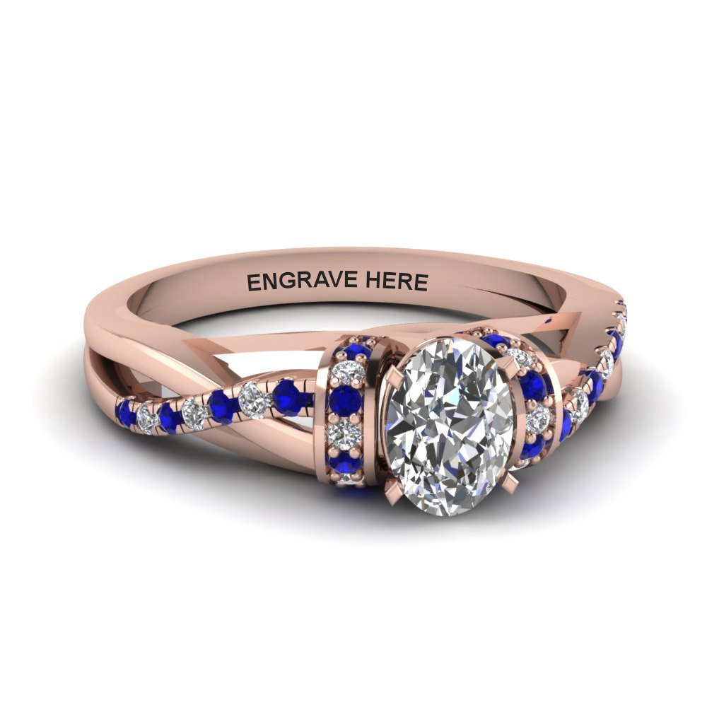 oval shaped personalized pave split diamond engagement ring with sapphire in FD8659OVRGSABL NL RG EG