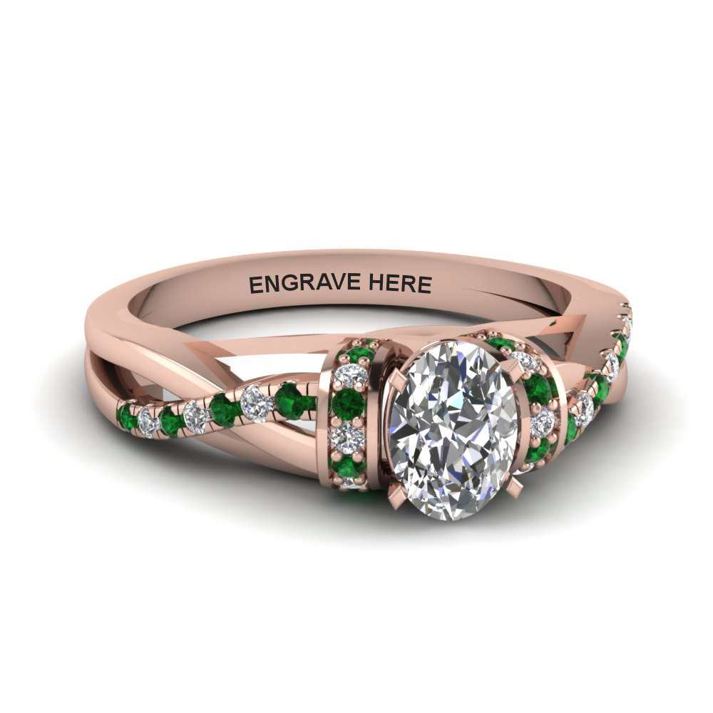 oval shaped personalized pave split diamond engagemen ring with emerald in FD650953OVRGEMGR NL RG EG