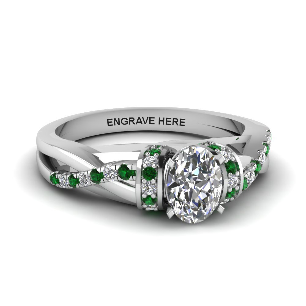 39be9542c2902a oval shaped personalized pave split diamond engagement ring with emerald in  FD8659OVRGEMGR NL WG EG