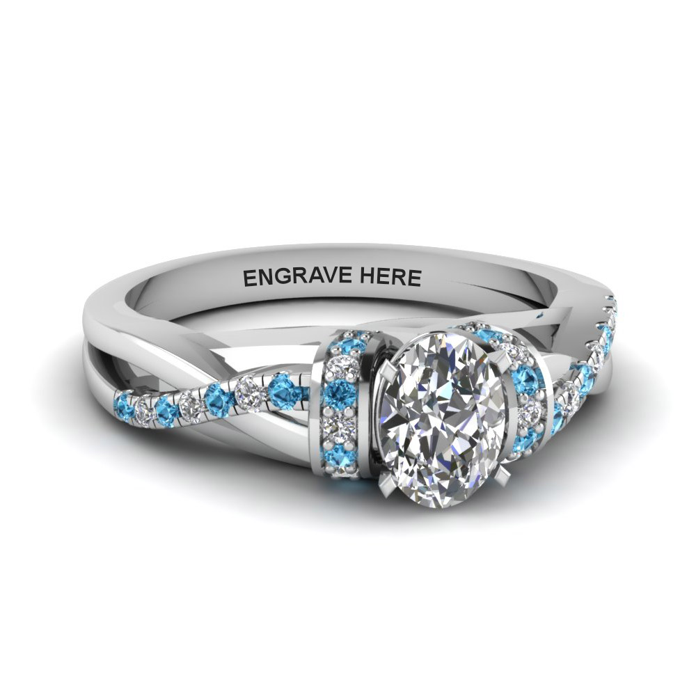 Personalized Pave Split Blue Topaz Ring