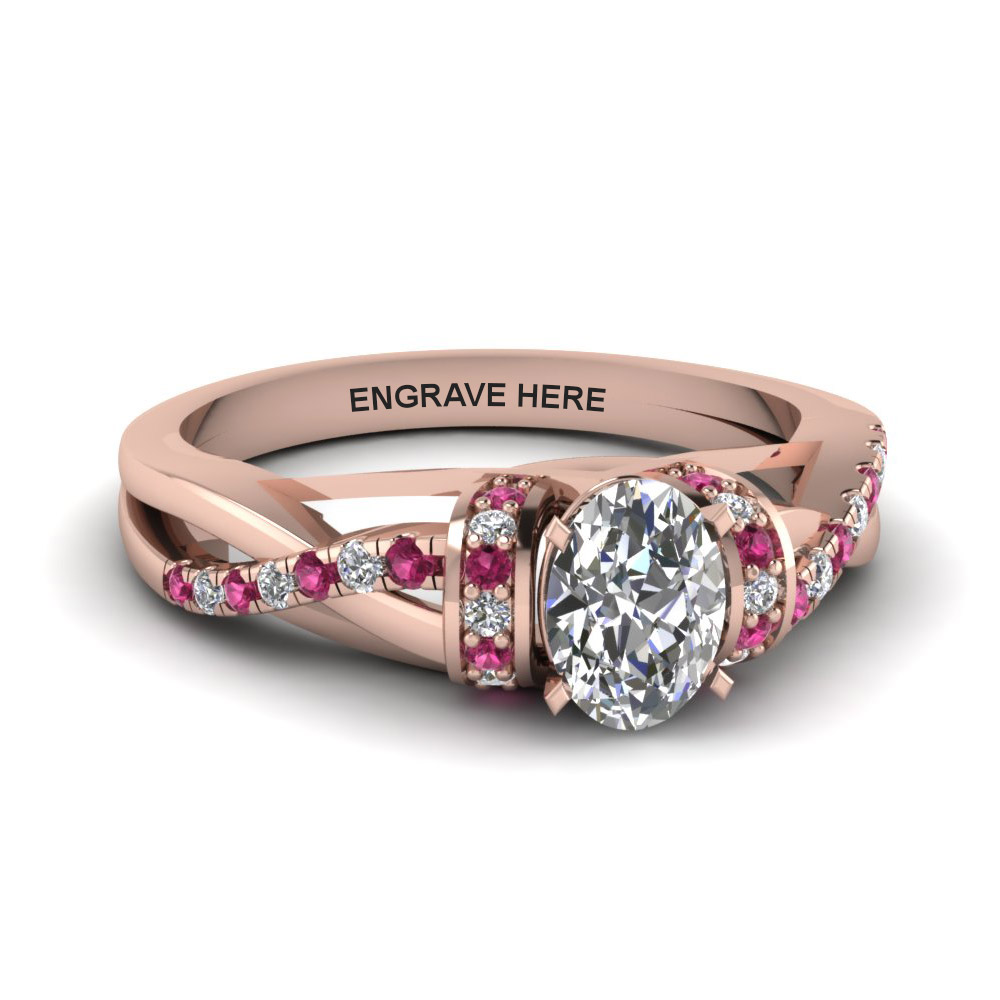 oval shaped personalized pave split moissanite engagement ring with pink sapphire in FD8659OVRGSADRPI NL RG EG