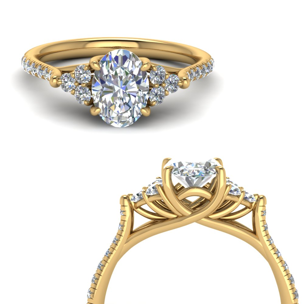 oval shaped petite cathedral diamond engagement ring in FD123457OVRANGLE3 NL YG