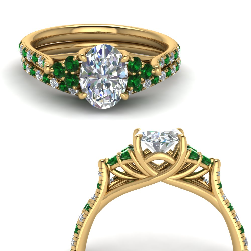 oval shaped petite cathedral diamond wedding ring set with emerald in FD123457OVGEMGRANGLE3 NL YG