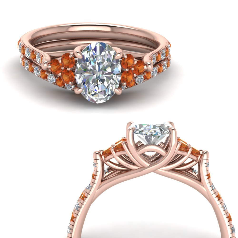 oval shaped petite cathedral diamond wedding ring set with orange sapphire in FD123457OVGSAORANGLE3 NL RG
