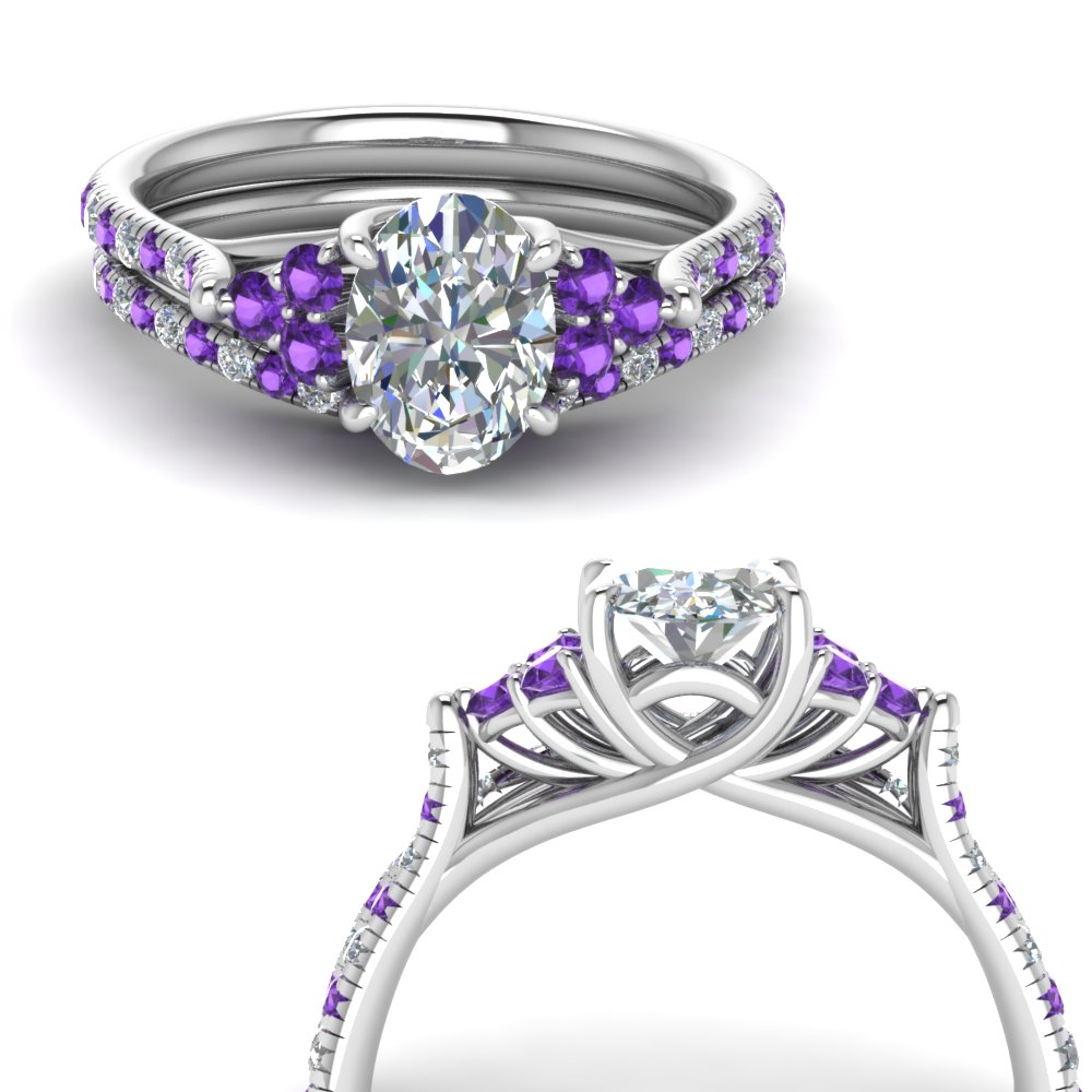 oval shaped petite cathedral diamond wedding ring set with purple topaz in FD123457OVGVITOANGLE3 NL WG