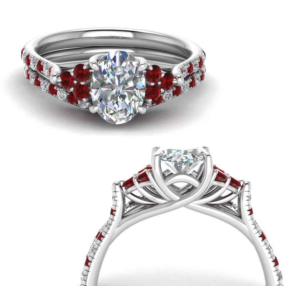 oval shaped petite cathedral diamond wedding ring set with ruby in FD123457OVGRUDRANGLE3 NL WG