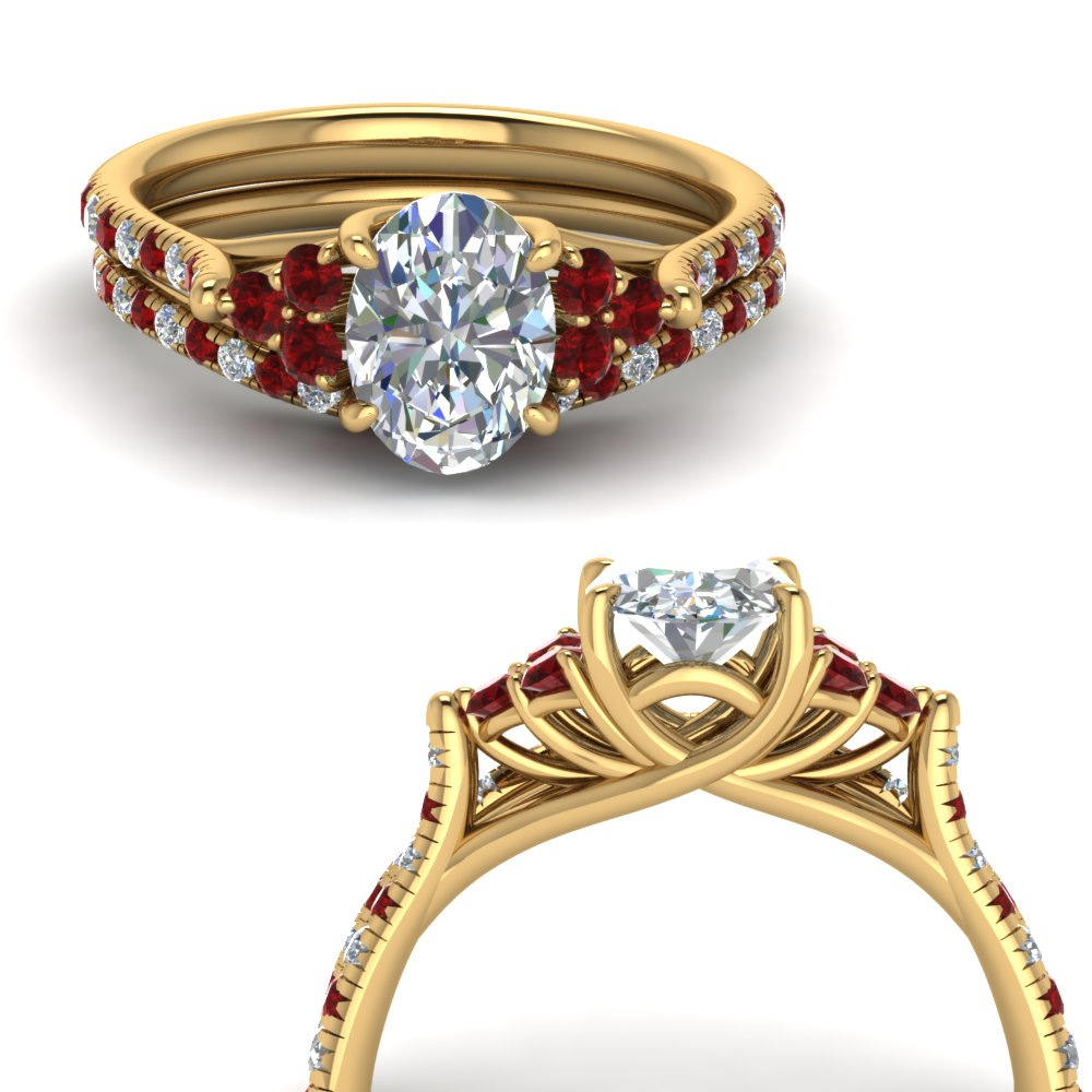 oval shaped petite cathedral diamond wedding ring set with ruby in FD123457OVGRUDRANGLE3 NL YG