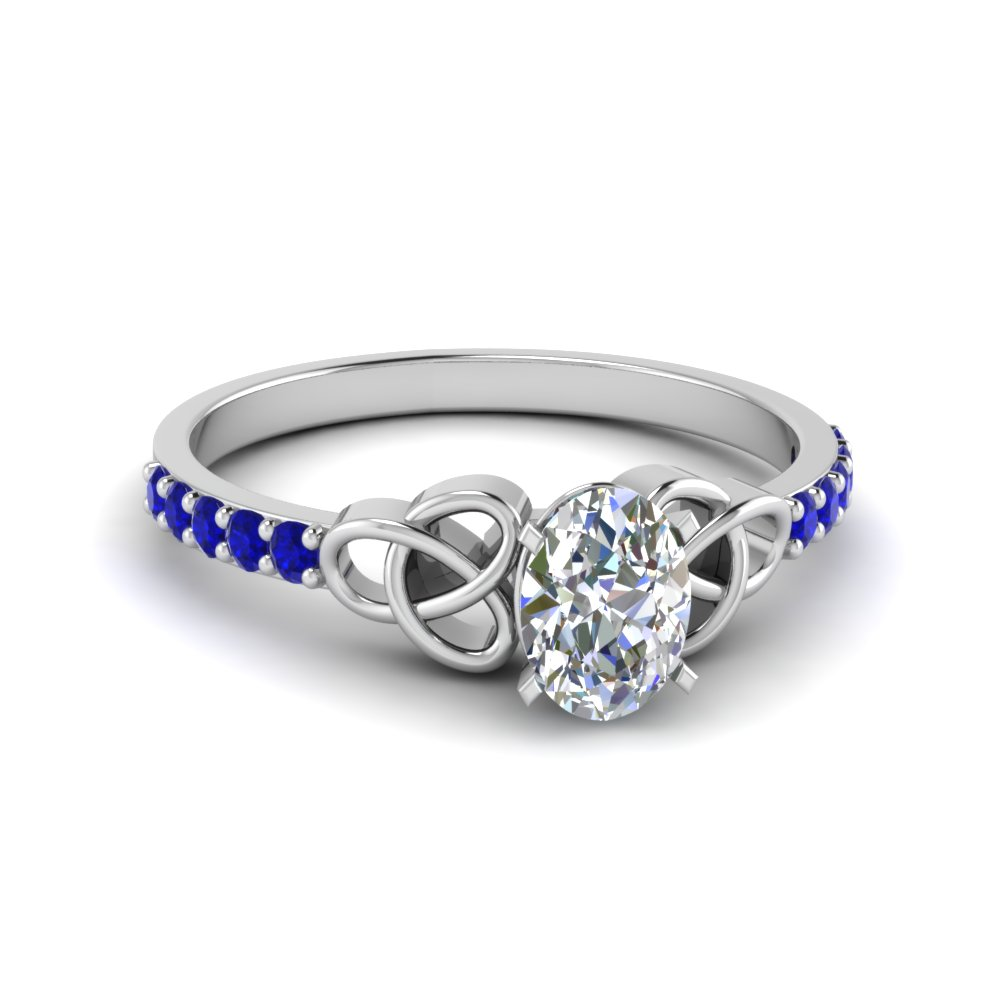 petite celtic oval shaped engagement ring with sapphire in FD8061OVRGSABL NL WG